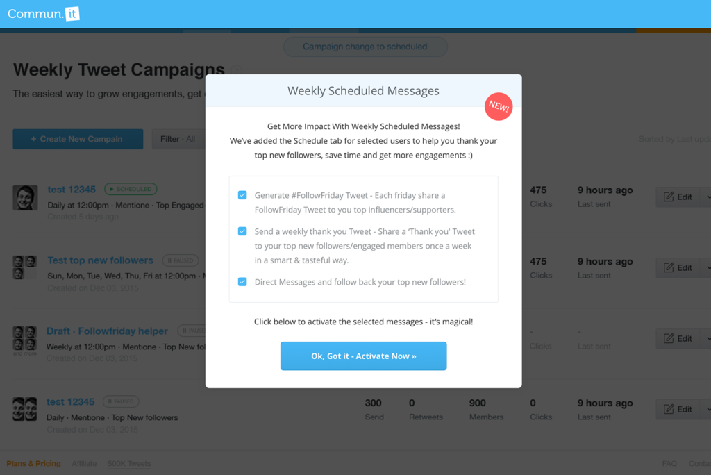 Activate Weekly Scheduled Messages